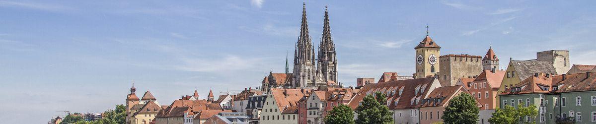 Altstadt Ansicht von Regensburg mit Dom und Himmel