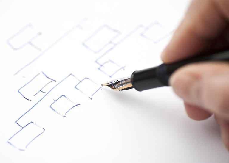 Hand mit Füller skizziert Diagramm auf Blatt