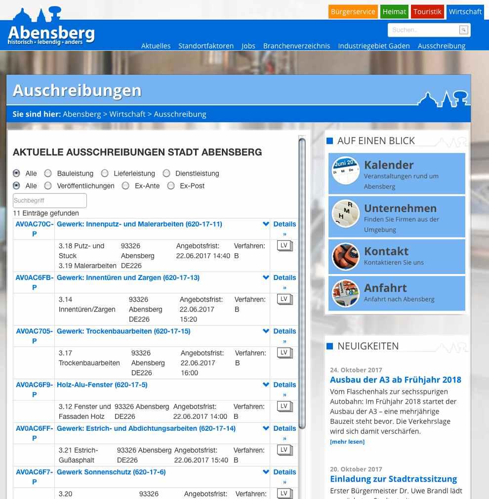Webseite der Stadt Abensberg mit Auschreibungsliste