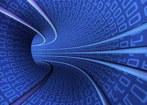 Gebogene blaue Datenröhren mit Einsen und Nullen