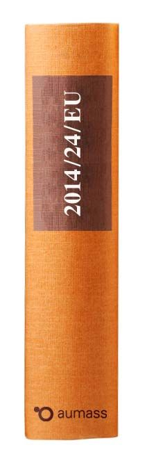Buchrücken oranges Gesetzbuch der EU Richtlinie 2014/24/EU