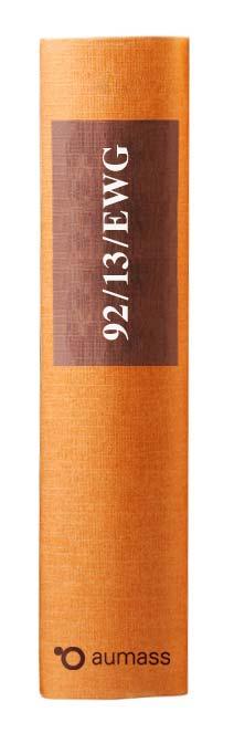Buchrücken oranges Gesetzbuch der EU Sektorenrechtsmittelrichtlinie 92/13/EWG