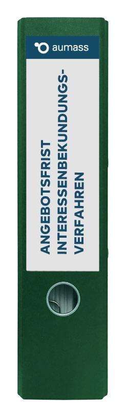 Grüner Ordner mit Angebotsfrist Interessenbekundungsverfahren