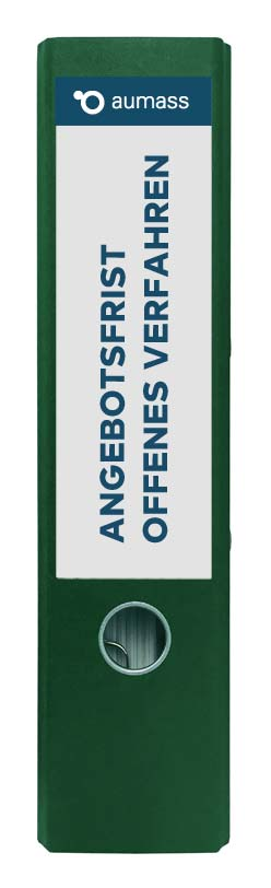 Grüner Ordner mit Angebotsfrist offenes Verfahren