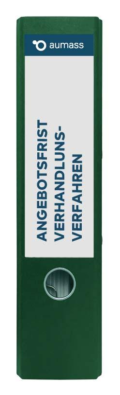 Grüner Ordner mit Angebotsfrist Verhandlungsverfahren
