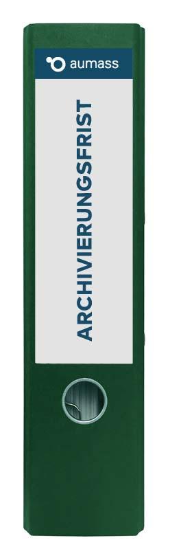 Grüner Ordner mit Archivierungsfrist