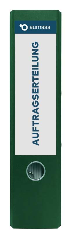 Grüner Ordner mit Auftragserteilung