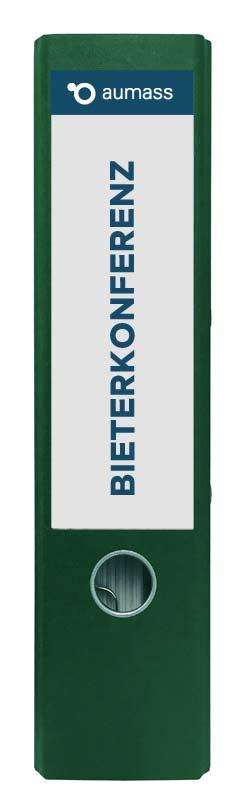 Grüner Ordner mit Bieterkonferenz