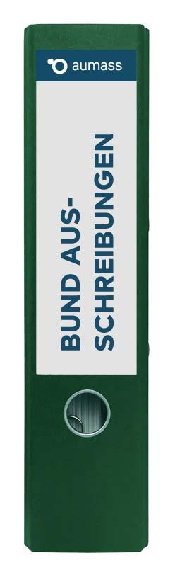 Grüner Ordner mit Bund Ausschreibungen