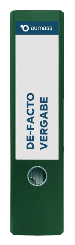 Grüner Ordner mit De-Facto Vergabe