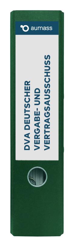 Grüner Ordner mit Deutscher Vergabe und Vertragsausschuss