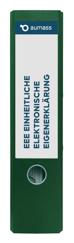 Grüner Ordner mit einheitlicher elektronischer Eigenerklaerung