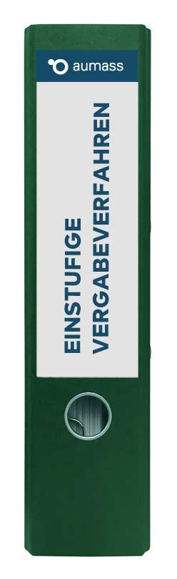 Grüner Ordner mit einstufigen Vergabeverfahren
