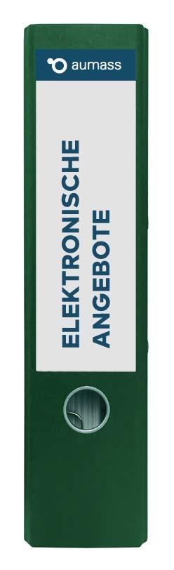 Grüner Ordner mit elektronischen Angeboten