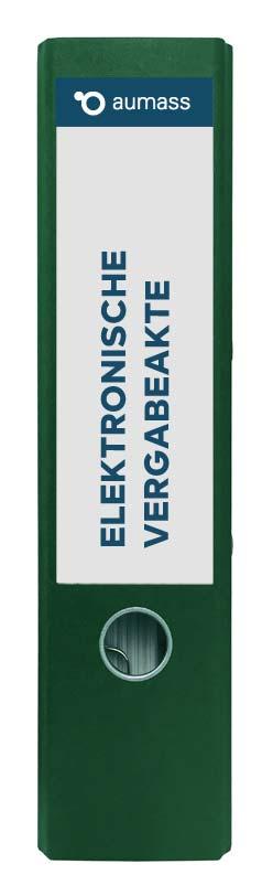 Grüner Ordner mit elektronischer Vergabeakte