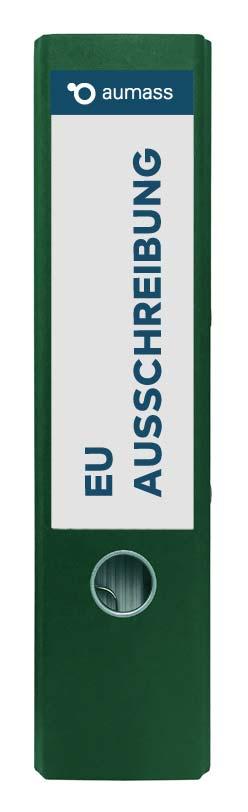 Grüner Ordner mit EU Ausschreibung