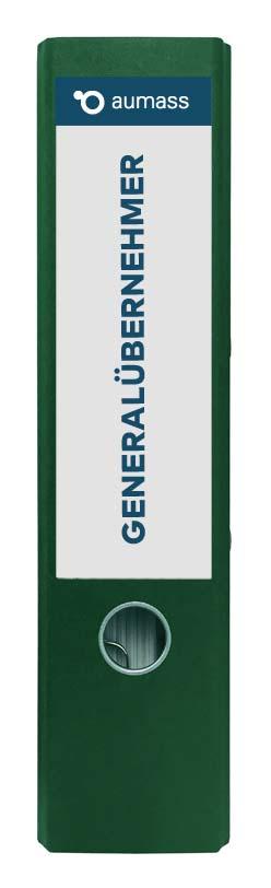Grüner Ordner mit Generaluebernehmer