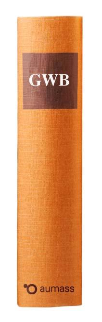 Buchrücken oranges Gesetzbuch mit Gesetz gegen Wettbewerbsbeschränkung GWB
