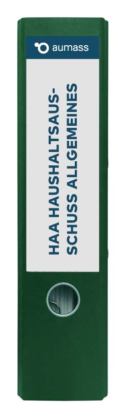 Grüner Ordner mit Haushaltsausschuss Allgemeines