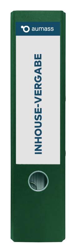 Grüner Ordner mit Inhouse Vergabe