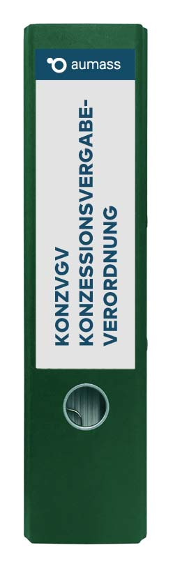 Grüner Ordner mit Konzessionsvergabeordnung