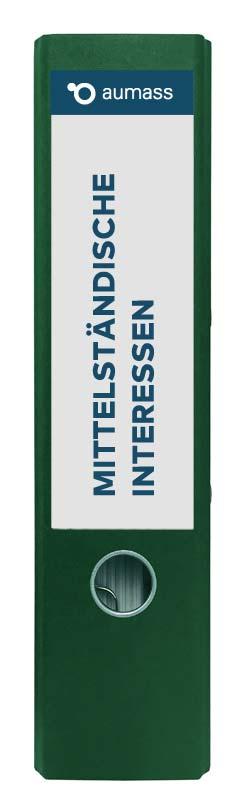 Grüner Ordner mit mittelstaendischen Interessen