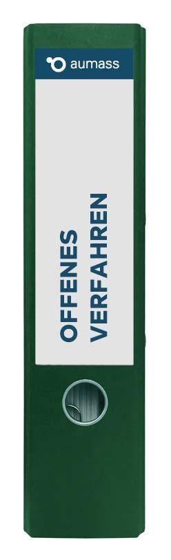 Grüner Ordner mit offenem Verfahren