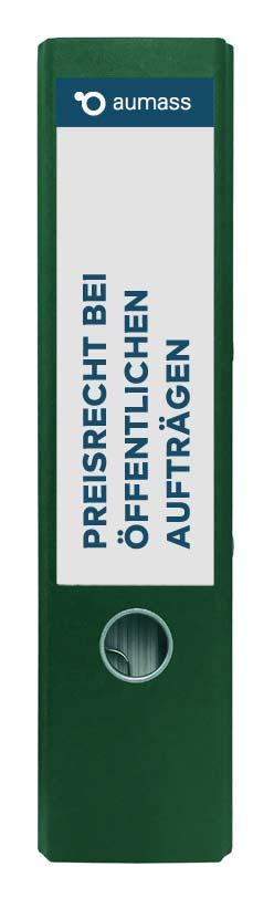 Grüner Ordner mit Preisrecht bei oeffentlichen Auftraegen