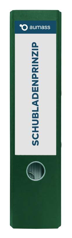 Grüner Ordner mit Schubladenprinzip