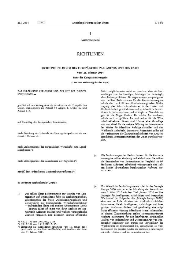 Erste Seite der EU Richtlinie 2014/23/EU