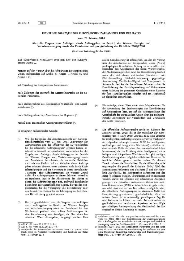 Erste Seite der EU Richtlinie 2014/25/EU