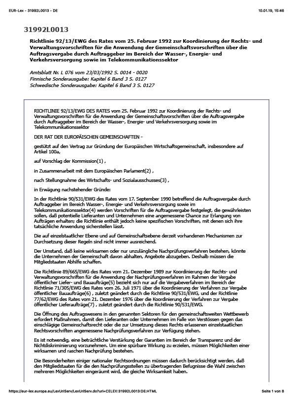 Erste Seite der EU Sektorenrechtsmittelrichtlinie 92/13/EWG