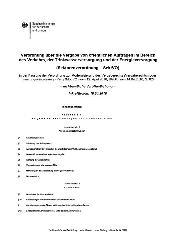 Erste Seite der SektVO - Sektorenverordnung