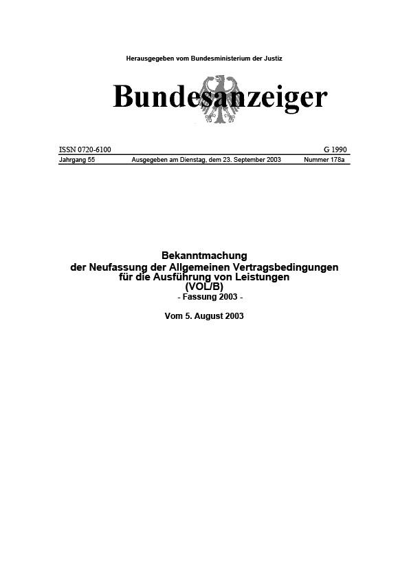 Erste Seite der Vergabeordnung für Lieferleistung VOL/B