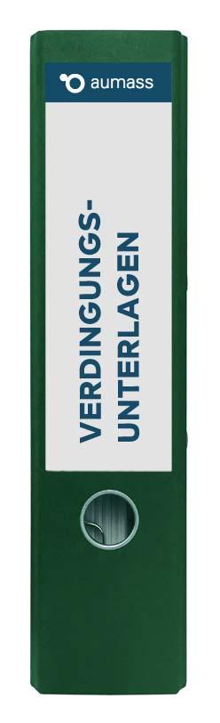 Grüner Ordner mit Verdingungsunterlagen