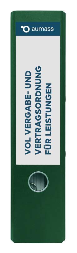 Grüner Ordner mit Vergabe- und Vertragsordnung fuer Leistungen