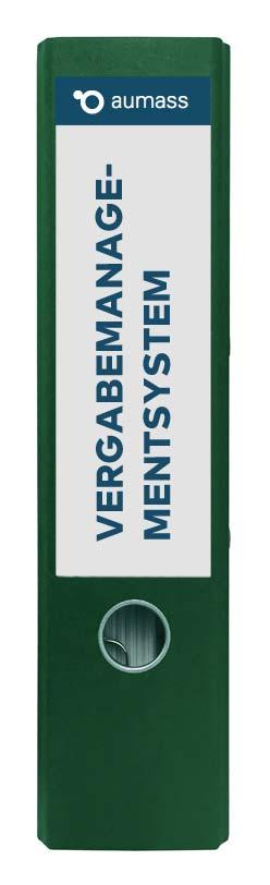 Grüner Ordner mit Vergabemanagementsystem