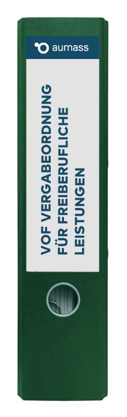 Grüner Ordner mit Vergabeordnung fuer freiberufliche Leistungen