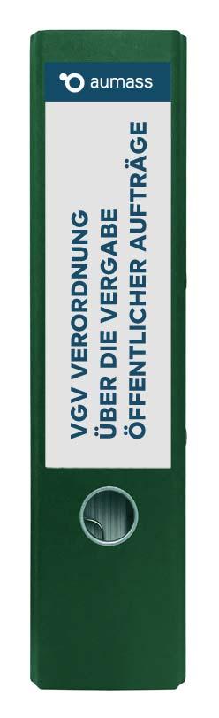 Grüner Ordner mit Verordnung ueber die Vergabe oeffentlicher Auftraege