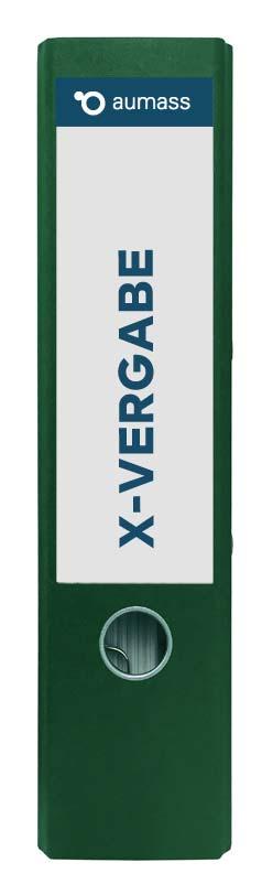 Grüner Ordner mit X-Vergabe