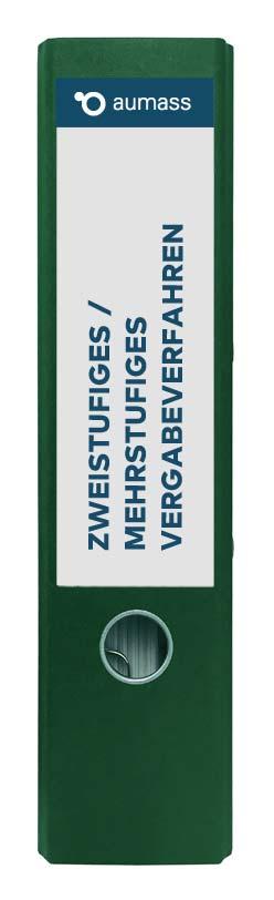 Grüner Ordner mit zweistufigem mehrstufigem Vergabeverfahren
