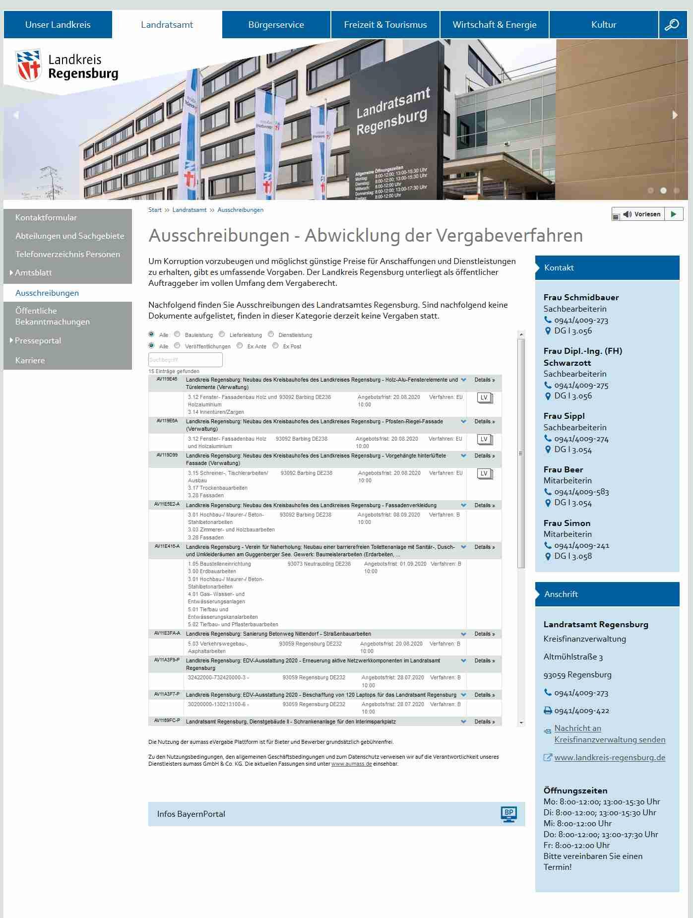 Webseite des Landkreises Regensburg mit Auschreibungen